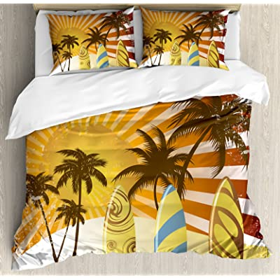 Lunarable Vintage Hawaii Duvet Cover Set, Grunge Surfing Design with Sun Rays Exotic Trees and Beach Abstract Boards, Decorative 3 Piece Bedding Set with 2 Pillow Shams, Queen Size, Multicolor: Home & Kitchen