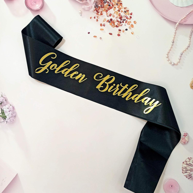 Golden Birthday Sash, Golden Birthday Party Decorations, Golden Girls Birthday Décor, Black and Gold Birthday Sash for Teens, Women and Men