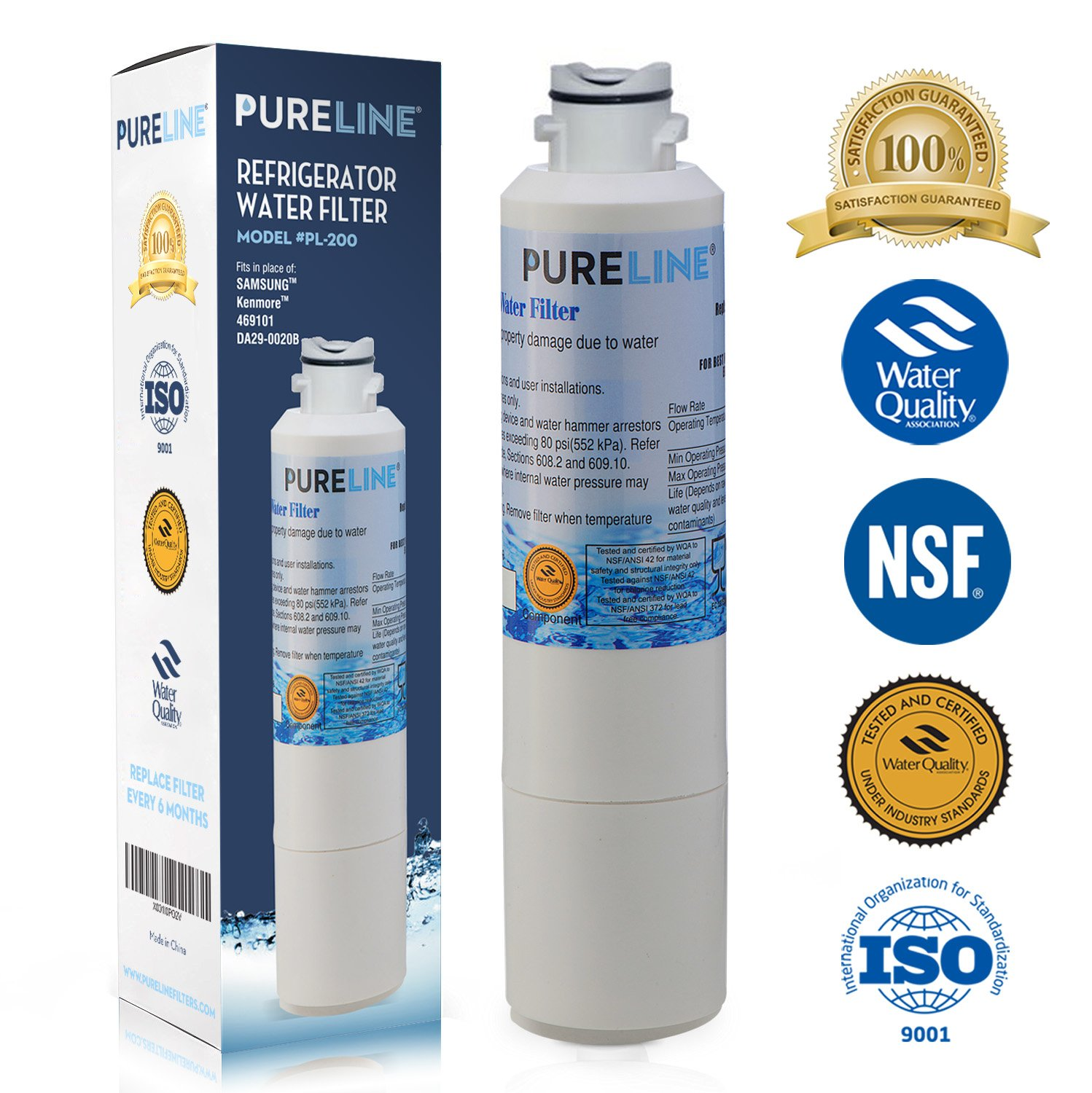 Pure Line Refrigerator Water Filter, Compatible with Samsung DA29-00020B