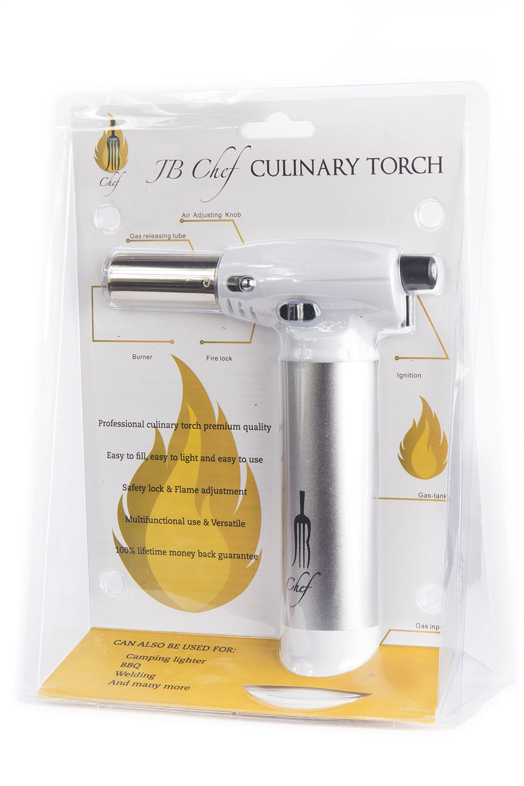 JB Chef Culinary Micro Butane Torch | Mini Torch Lighter Cooking Kitchen Blow Torch With Safety Lock & Adjustable Flame | Small Cigar Torch Lighter For Crème Brûlée, Soldering, Welding Torch & More by JB Chef (Image #8)