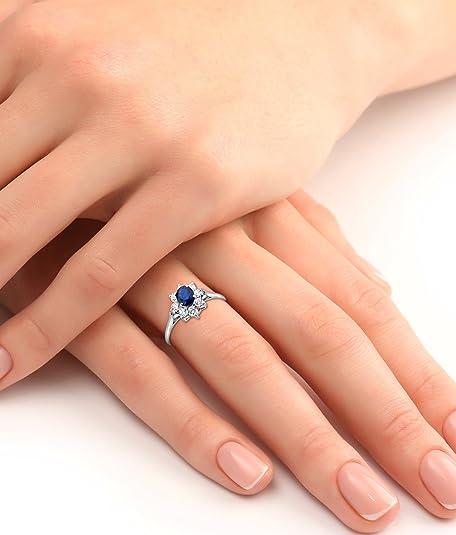 Miore - Bague Femme Or Blanc 375 1000 (9 carats) 1.25 gr - Saphir   Amazon.fr  Bijoux 892639d6e89d