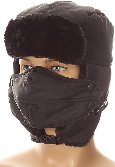 cf661d3672a35 Amazon.com  Sakkas 16161 - Esty Adjustable Chin Buckle Faux Fur Lined Face Mask  Unisex Trooper Hat - Black - OS  Clothing