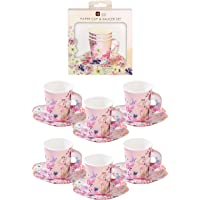 "Talking Tables Floral Paper Tea Cups & Shaped Saucer Set, Pack of 12, 6oz, 5.5"", Pretty Pink Blossom Girls, Daughter…"