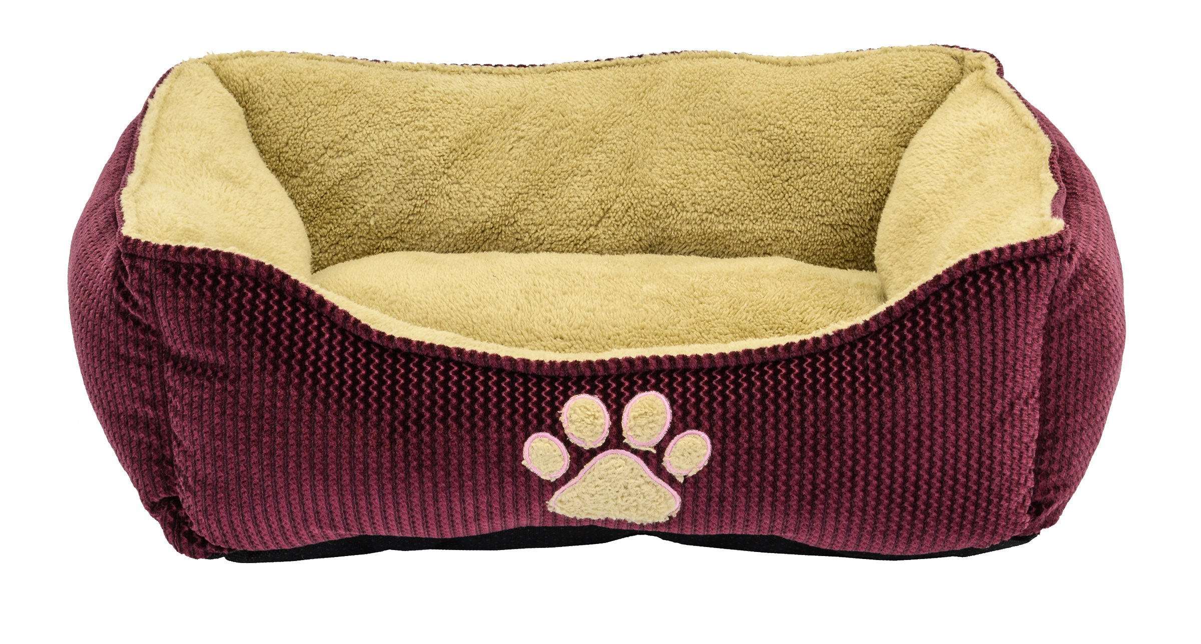 Dallas Manufacturing Co. 25'' Textured Box Dog Bed Burgundy