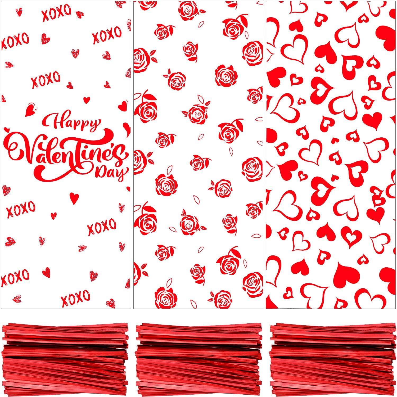 Conception de Rose, Coeur et Joyeuse Saint-Valentin 150 Pi/èces Sac en Cellophane Saint Valentin Sacs de Friandises Sac de Bonbons Sacs de Biscuits 150 Pi/èces Cravates Twist pour Saint-Valentin