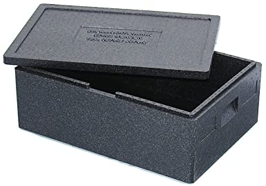 Thermobox Größe 1 mit Deckel, EPP, schwarz, mit Deckel, schwarz, 685 x 485 x 260 mm, kältebeständig bis -40°C, hitzebeständig