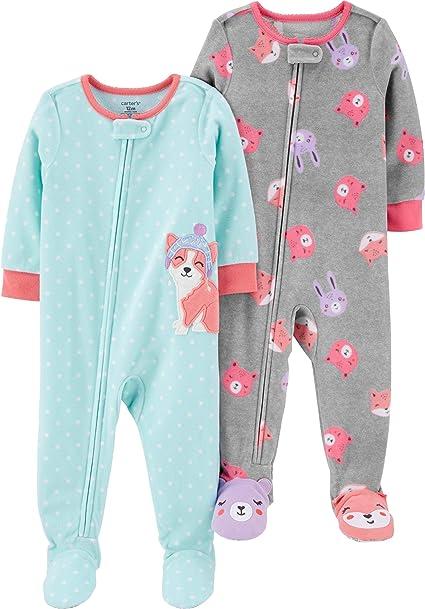Carter/'s Toddler Girl/'s Puppy Dog Face Gray Fleece Blanket Pajama Sleeper
