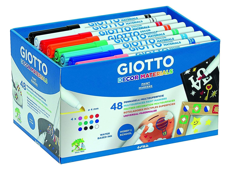 Giotto Decor Materials - Pack 48 rotuladores decorativos multisuperficie, tinta base agua
