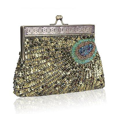 61ba5c9b9182 Women's Fashion Designer Elegant Purse Vintage Clutch Sequin Teal Peacock  Unusual Antique Beaded Sequin Evening Handbag