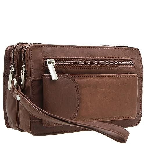 5df86410b52d Jejo-bags® Pochette porté main à dragonne en cuir véritable Pour homme 3  couleurs disponibles - Marron - marron