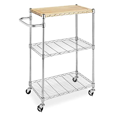 Whitmor Supreme Kitchen and Microwave Cart Wood & Chrome