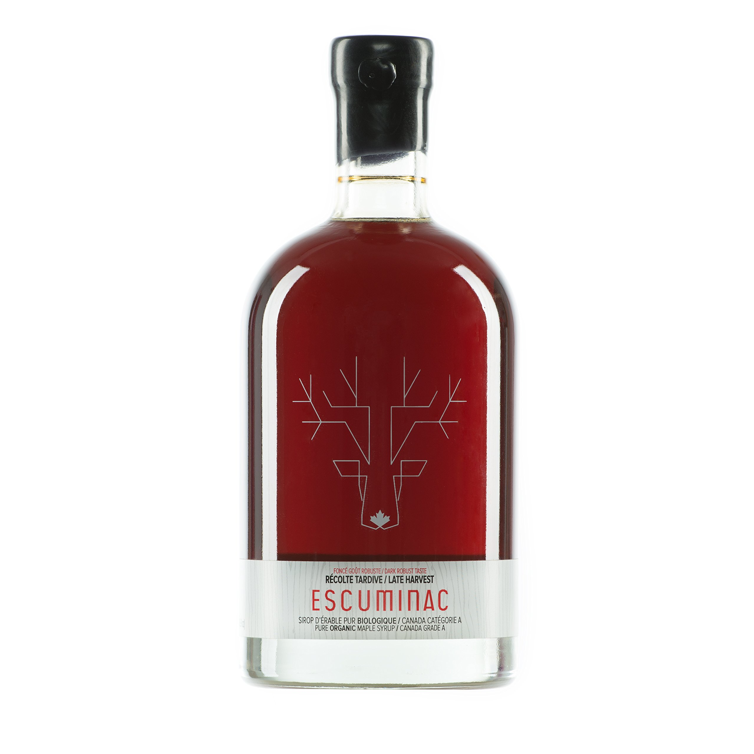 Award Winning Escuminac Unblended Maple Syrup Canadian Grade A - Dark Robust (Formerly Maple Syrup Grade B) - Pure Organic Single Forest - Late Harvest 16.9 fl oz (500ml) - Perfect For Pancakes