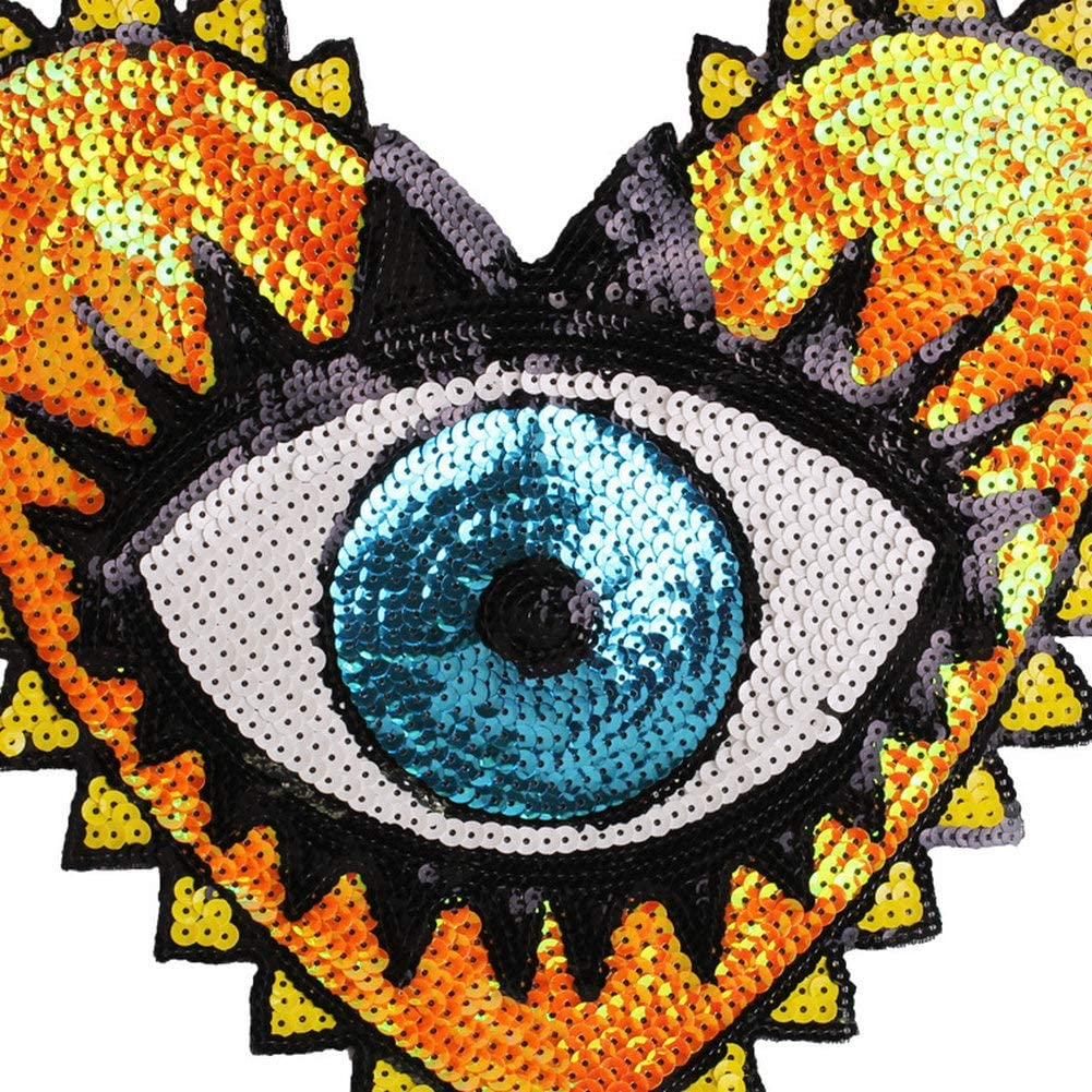 heart-shaped eye sequins embroidery clothing accessories applique flower patch..
