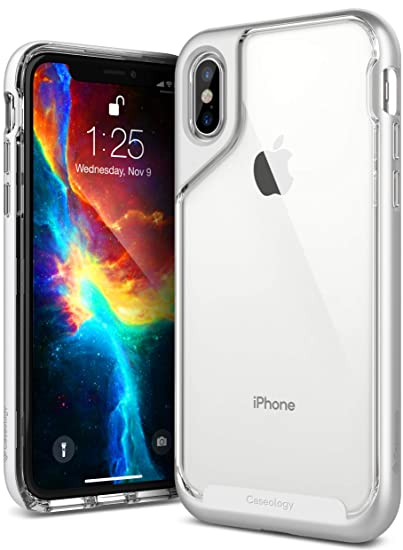 on sale 045da f2987 Caseology Skyfall for iPhone Xs Case (2018) - Clear Back & Slim Fit - Silver