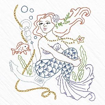 Amazon Com Heidi Boyd Anchored Mermaid Embroidered Whimsy Tea