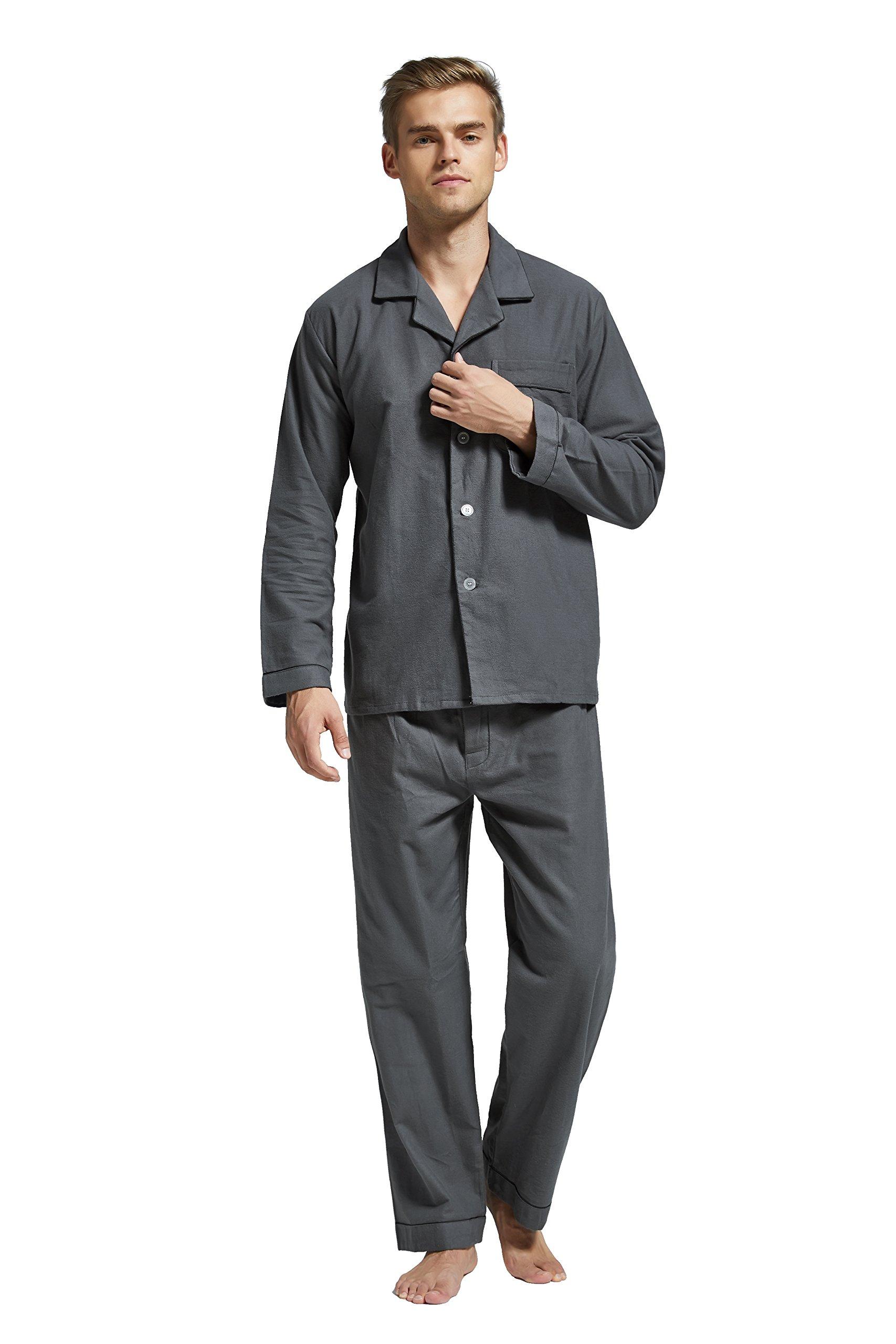 TONY AND CANDICE Men's Flannel Pajama Set, 100% Cotton Long Sleeve Sleepwear (Medium, Grey with Black Piping)