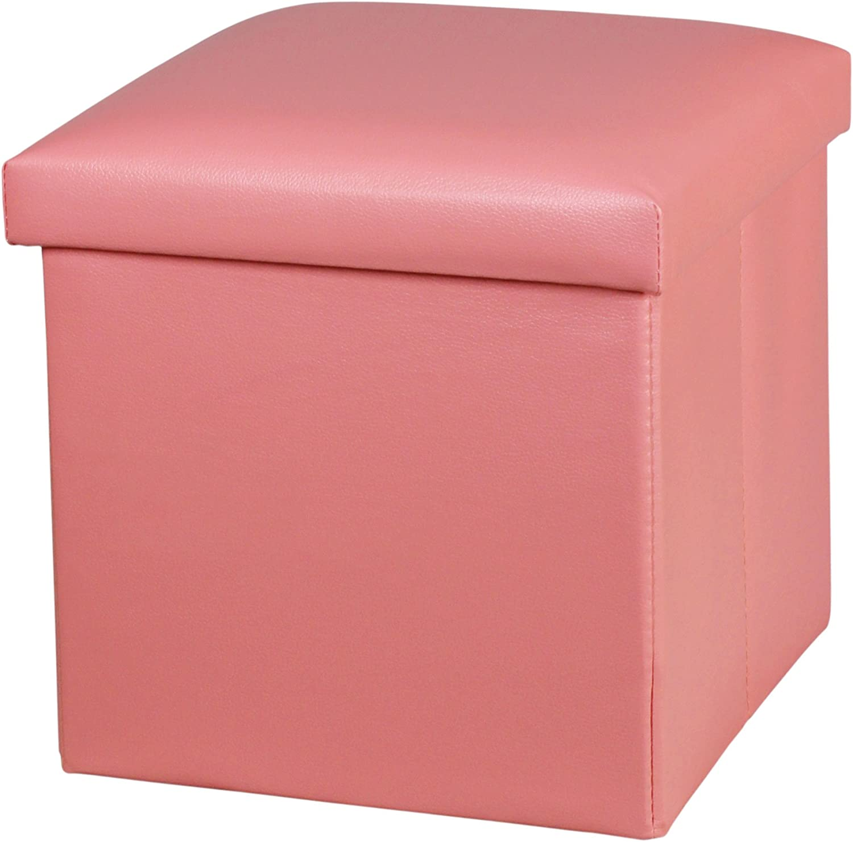 NISUNS OT01 Leather Folding Storage Ottoman Cube Footrest Seat, 12 X 12 X 12 Inches (Pink)