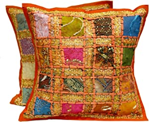 Krishna Mart India 2 Orange Embroidery Sequin Patchwork Indian Sari Throw Pillow Cushion Covers