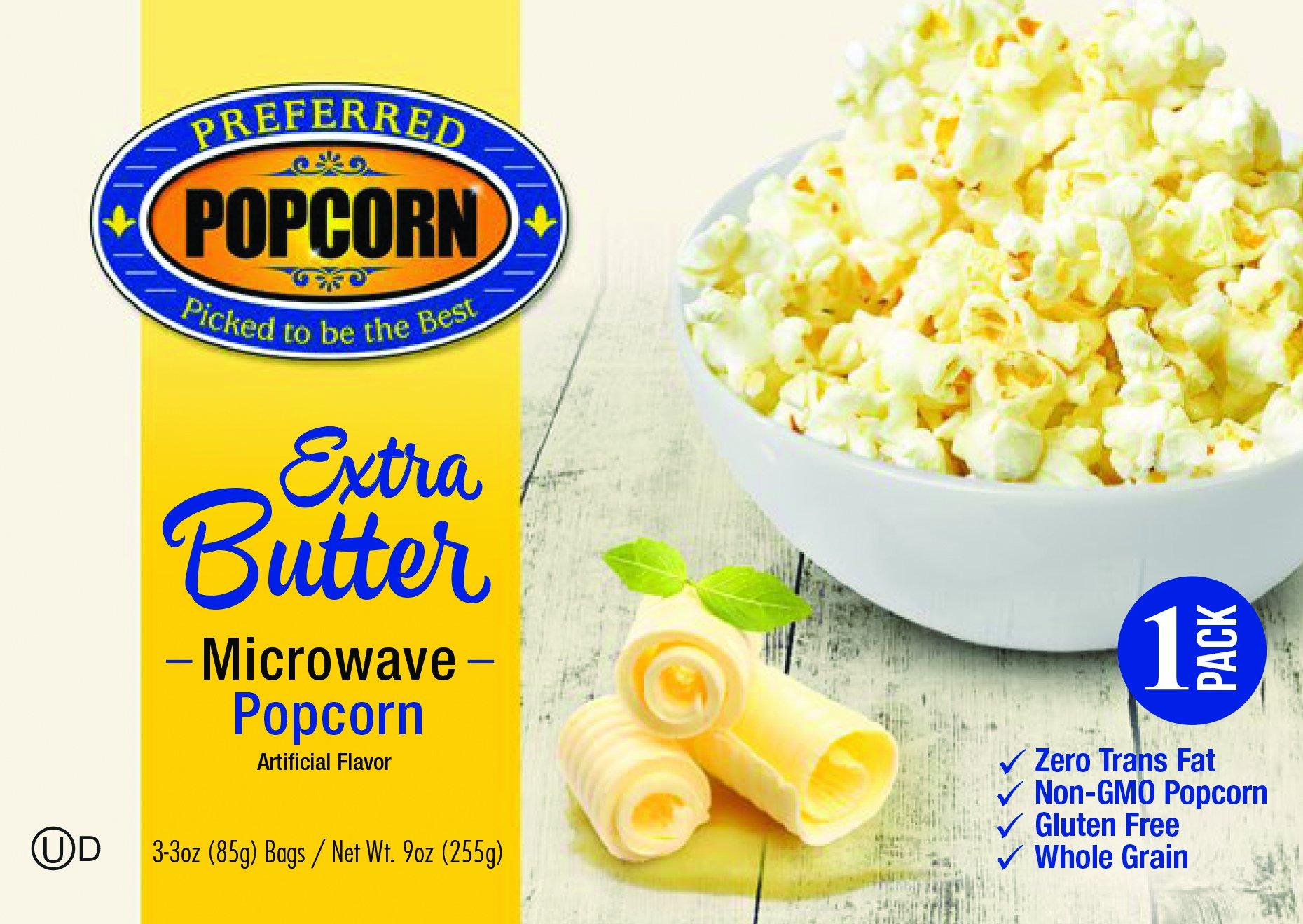 Microwave Extra Butter Popcorn - Preferred Popcorn - One 3.0 oz Bag - 100% Farmer Owned - USA Made - Made in Nebraska - Movie Popcorn Snack - Gluten Free - Whole Grain - NonGMO - Fresh Popcorn
