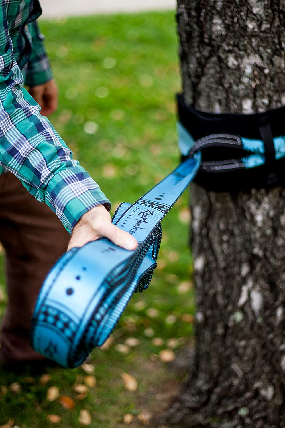 ZenMonkey Slackline Kit with Training Line, Arm Trainer, Tree Protectors, Cloth Carry Bag and Instructions, 60 Foot - Easy Setup for the Family, Kids ...
