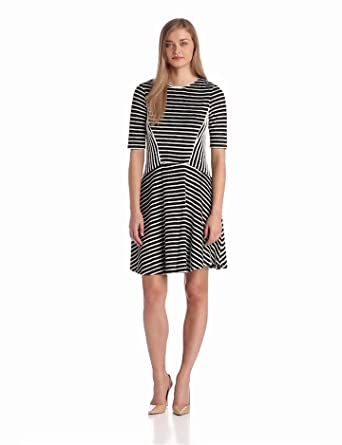 Gabby Skye Women's Elbow Sleeve Stripe Flare Dress, Black/Ivory, 4