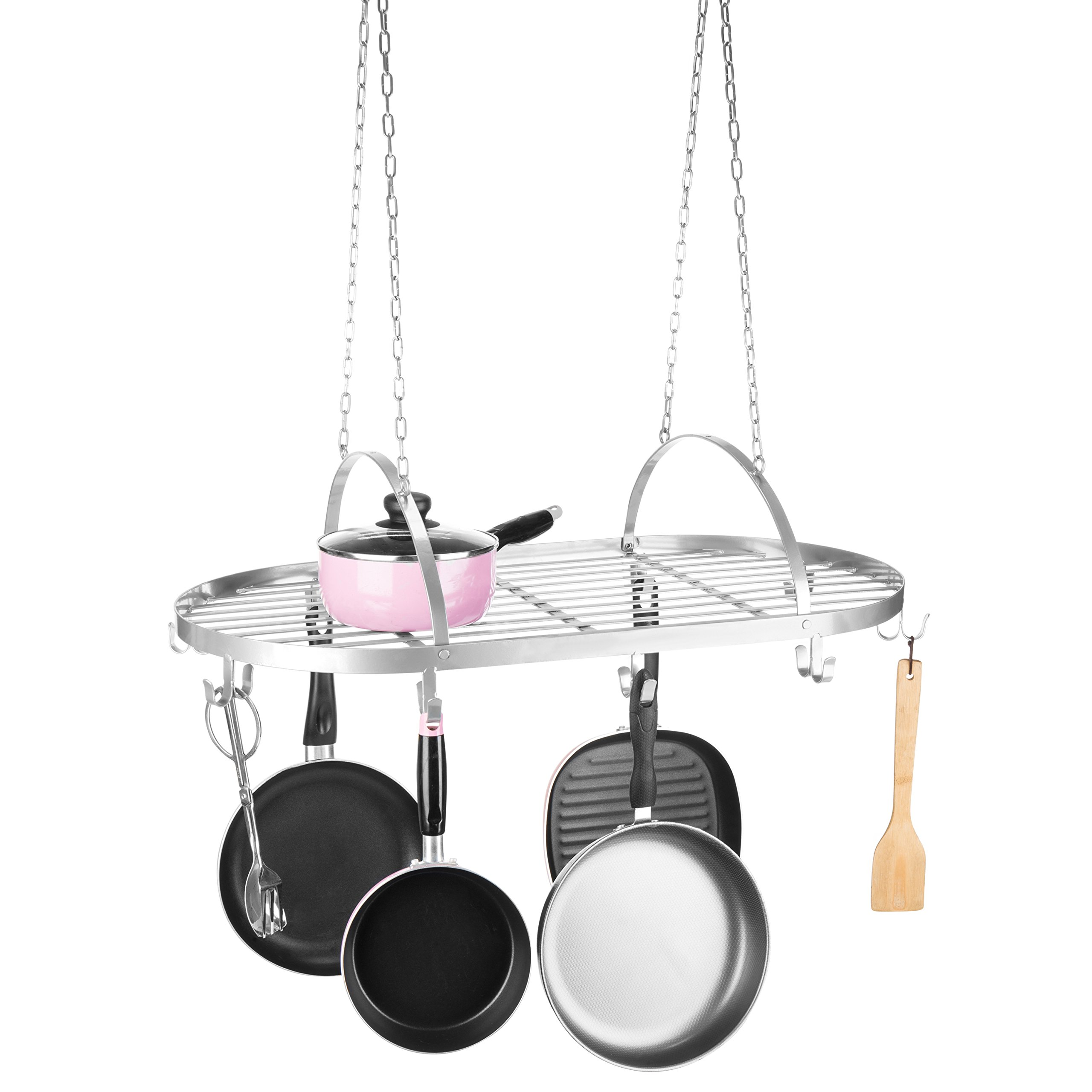 MyGift Silver Scrollwork Metal Ceiling-Mounted Hanging Pot Rack by MyGift