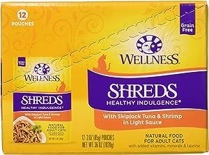 Wellness Healthy Indulgence Natural Grain Free Shreds with Tuna & Shrimp in Light Sauce Wet Cat Food, 3 oz., 12 X 3 OZ