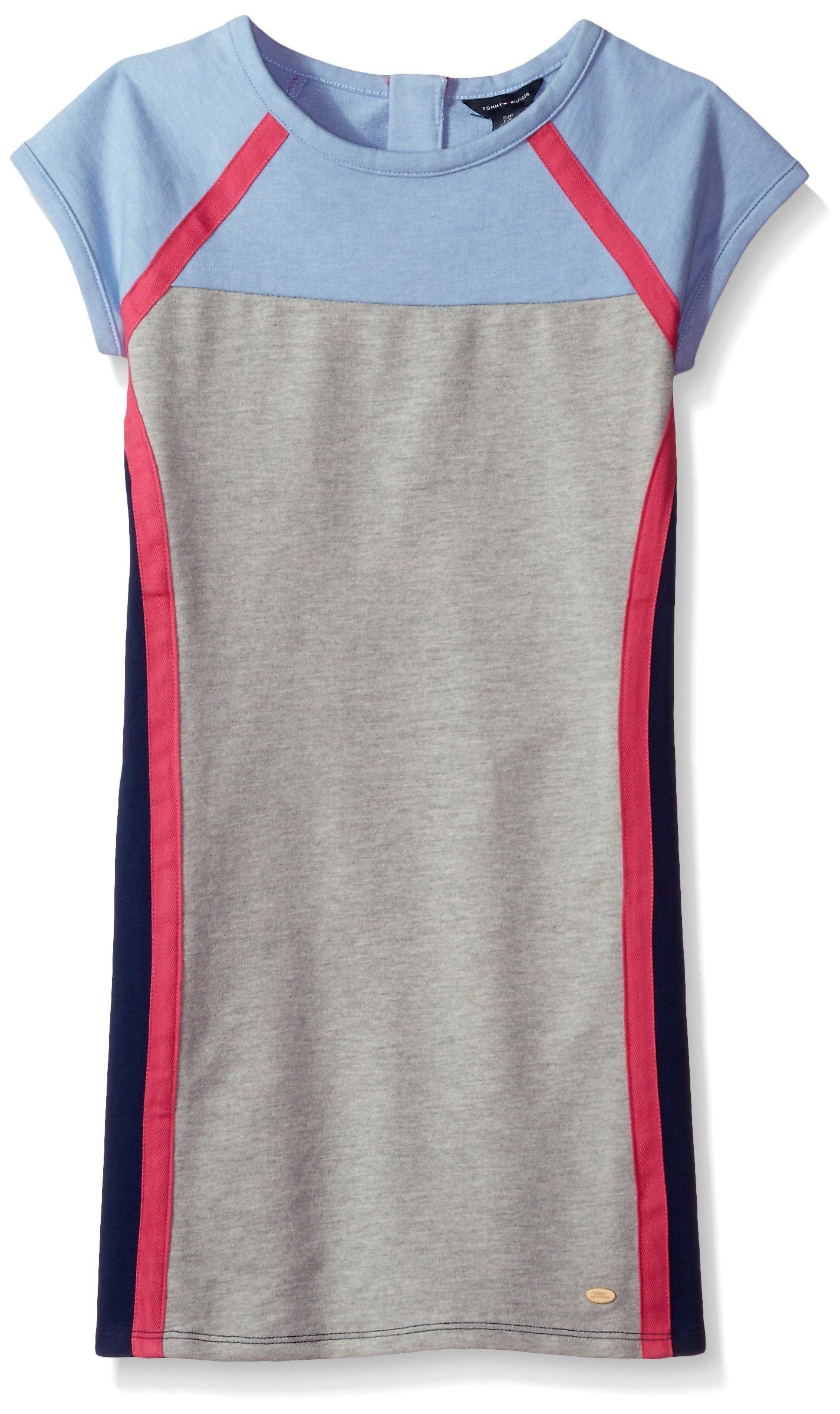 Tommy Hilfiger Big Girls' Colorblocked Dress, Heathered Rain, Large