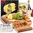 DELUXY Mr. and Mrs. Cheese Board - Perfect Bridal Shower Gifts For Bride, Wedding Gifts For Couples, Engagement Gifts For Couples - Charcuterie Boards Guide & Best Wishes Card Included