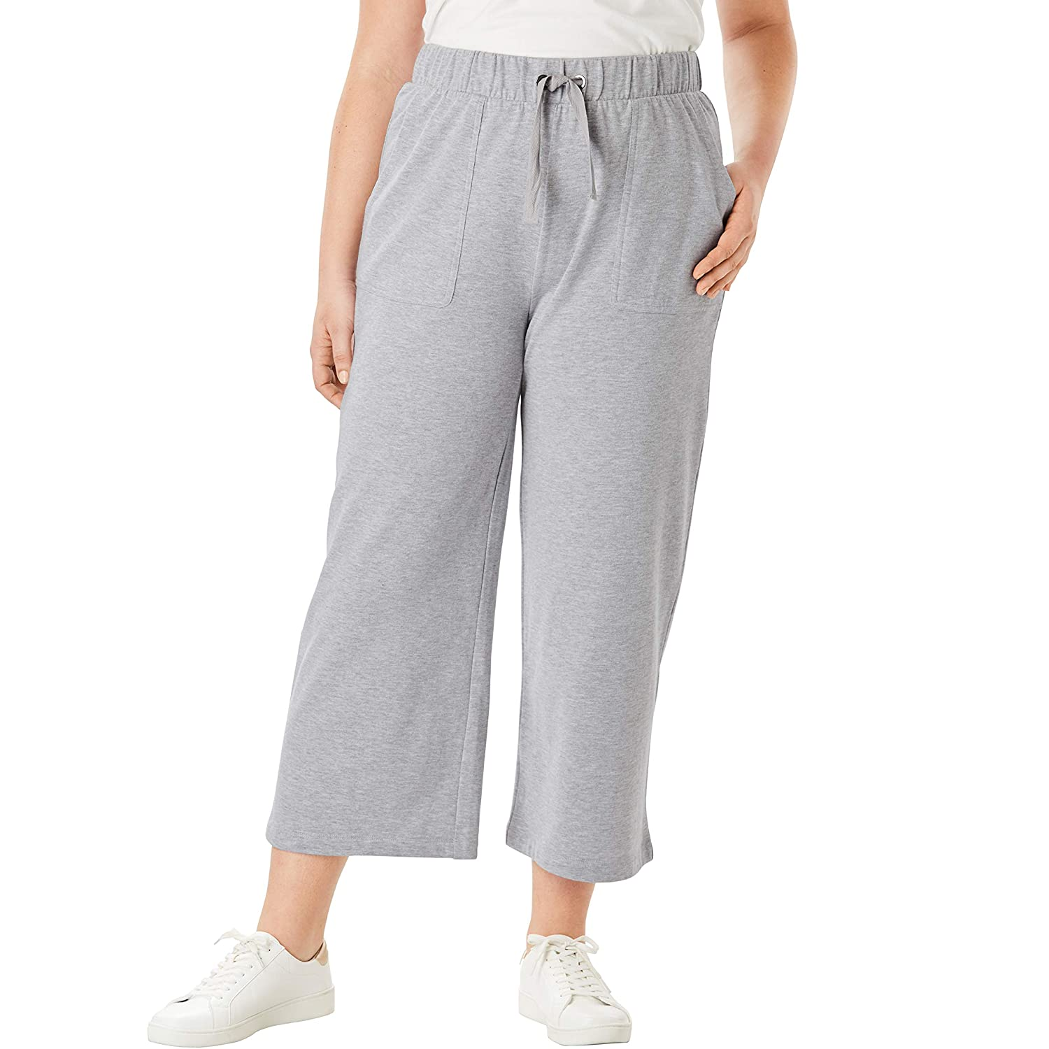 Roamans Womens Plus Size Wide-Leg Crop French Terry Pant with Drawstring Waist