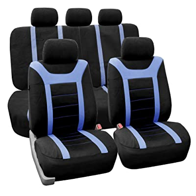 FH Group FB070BLUE115 Universal Fit Full Set Sports Fabric Car Seat Cover with Airbag & Split Ready, (Blue/Black) (FH-FB070115, Fit Most Car, Truck, SUV, or Van): Automotive
