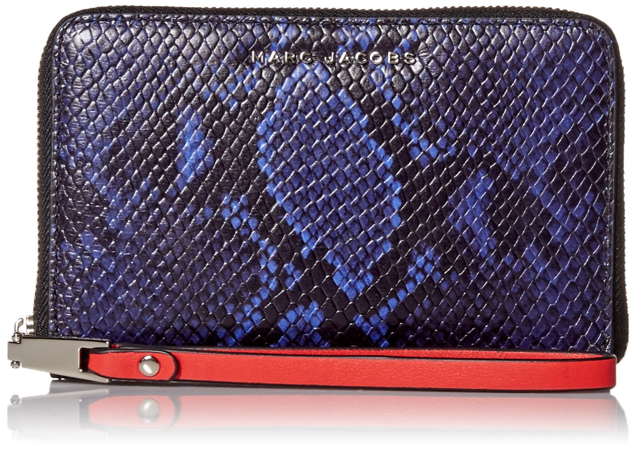 Marc Jacobs Block Letter Snake Zip Phone Wristlet, Cobalt Snake Multi, One Size