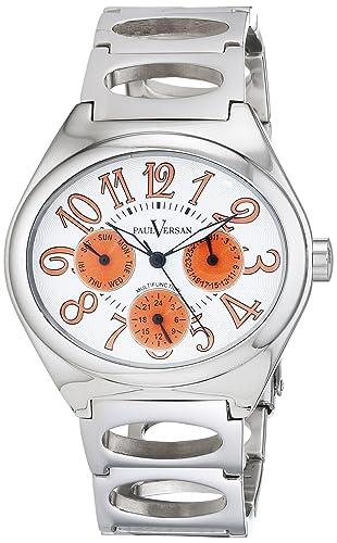 Paul Versan Reloj Análogo clásico para Hombre de Cuarzo con Correa en Acero Inoxidable PV9703: Amazon.es: Relojes