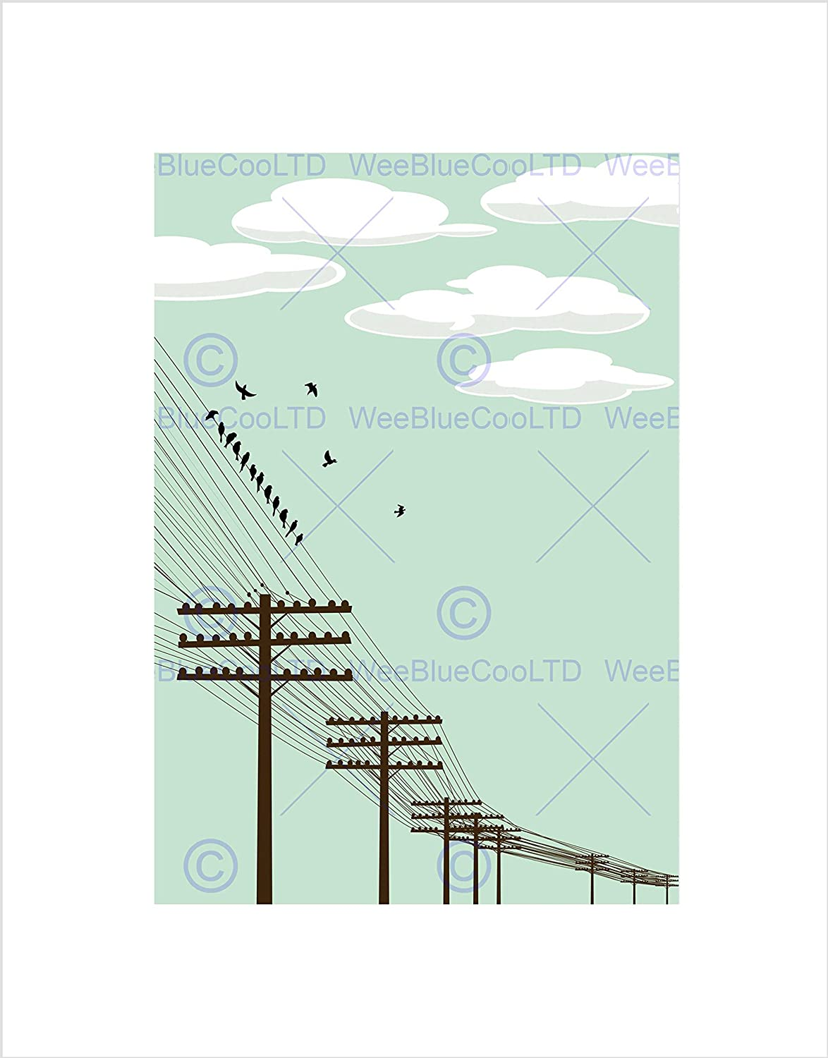Pleasant Amazon Com Painting Flock Birds Telegraph Poles Wire Art Print Wiring 101 Relewellnesstrialsorg