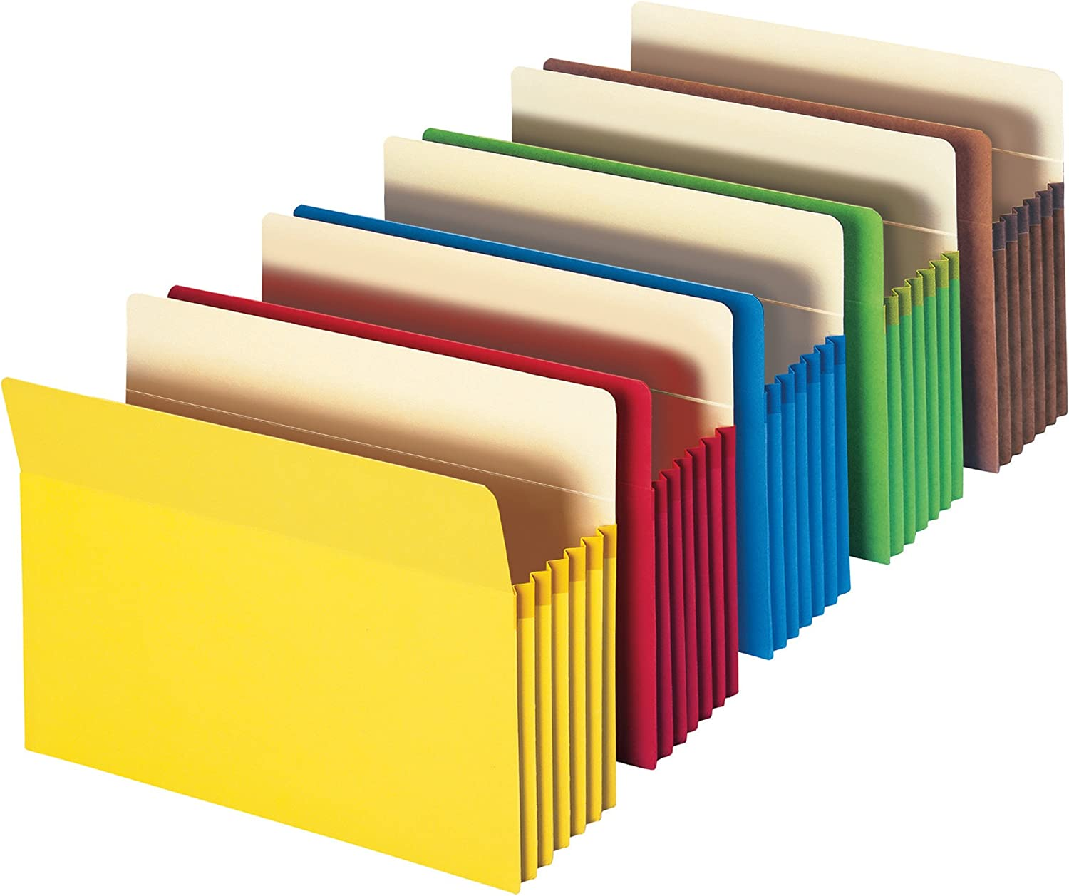 """Smead File Pocket, Straight-Cut Tab, 5-1/4"""" Expansion, Letter Size, Assorted Colors, 5 per Pack (73836)"""