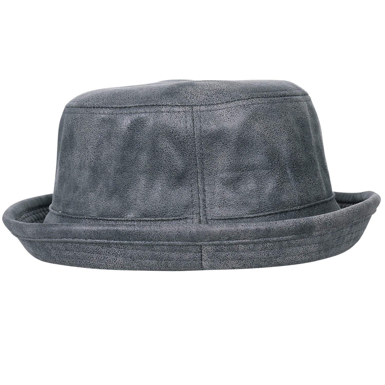 bdd3a7d09734b ililily Vintage Faux Leather Rolled Short Brim Fedora Flat Pork Pie Hat   Amazon.ca  Clothing   Accessories
