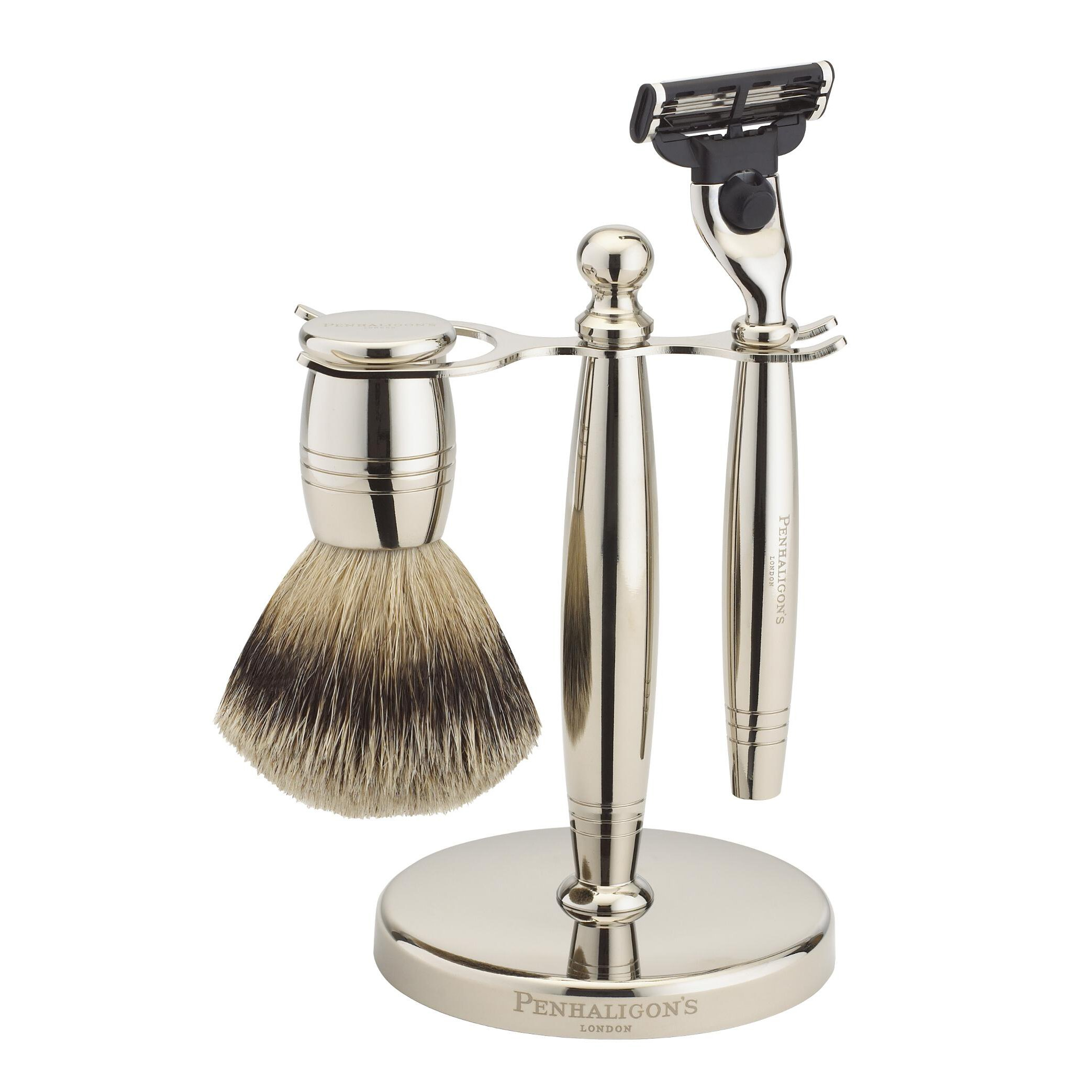 Penhaligon's Nickel Shaving Set: Razor + Brush + Stand + Bag 3pcs+1bag