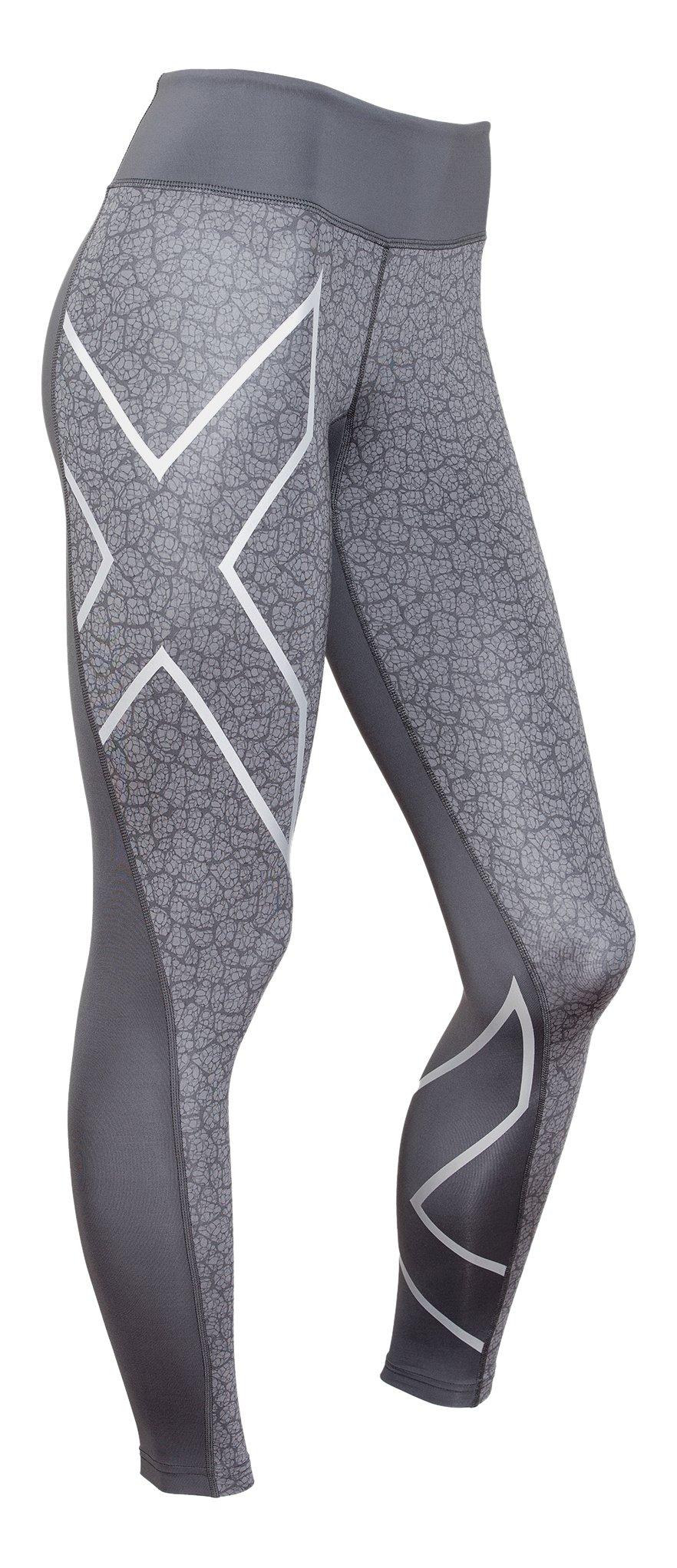 2XU Women's Mid-Rise Compression Tights, Dark Slate/Bone Print, Large