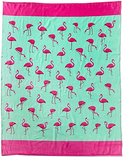 Bahia Colletion by Dohler Flamingo Brazilian Velour Beach Towel 30 x 60 Inches