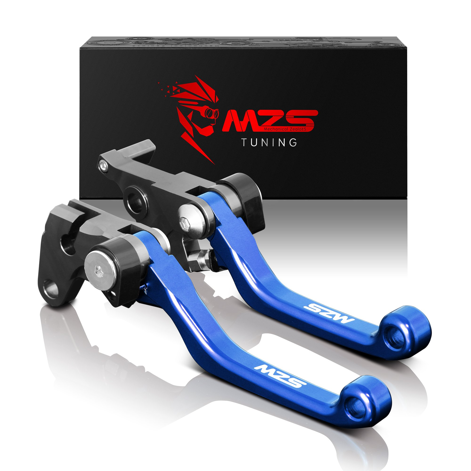 MZS Pivot Levers Brake Clutch CNC for Yamaha YZ125 YZ250 2008-2014/ YZ250F 2007-2008/ YZ426F YZ450F 2008 (Blue) by MZS