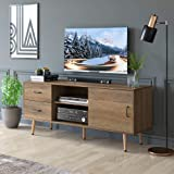 """HOMECHO TV Stand for TVs up to 60"""", Mid-Century Modern Entertainment Center with Sliding Door, TV Cabinet with Adjustable She"""