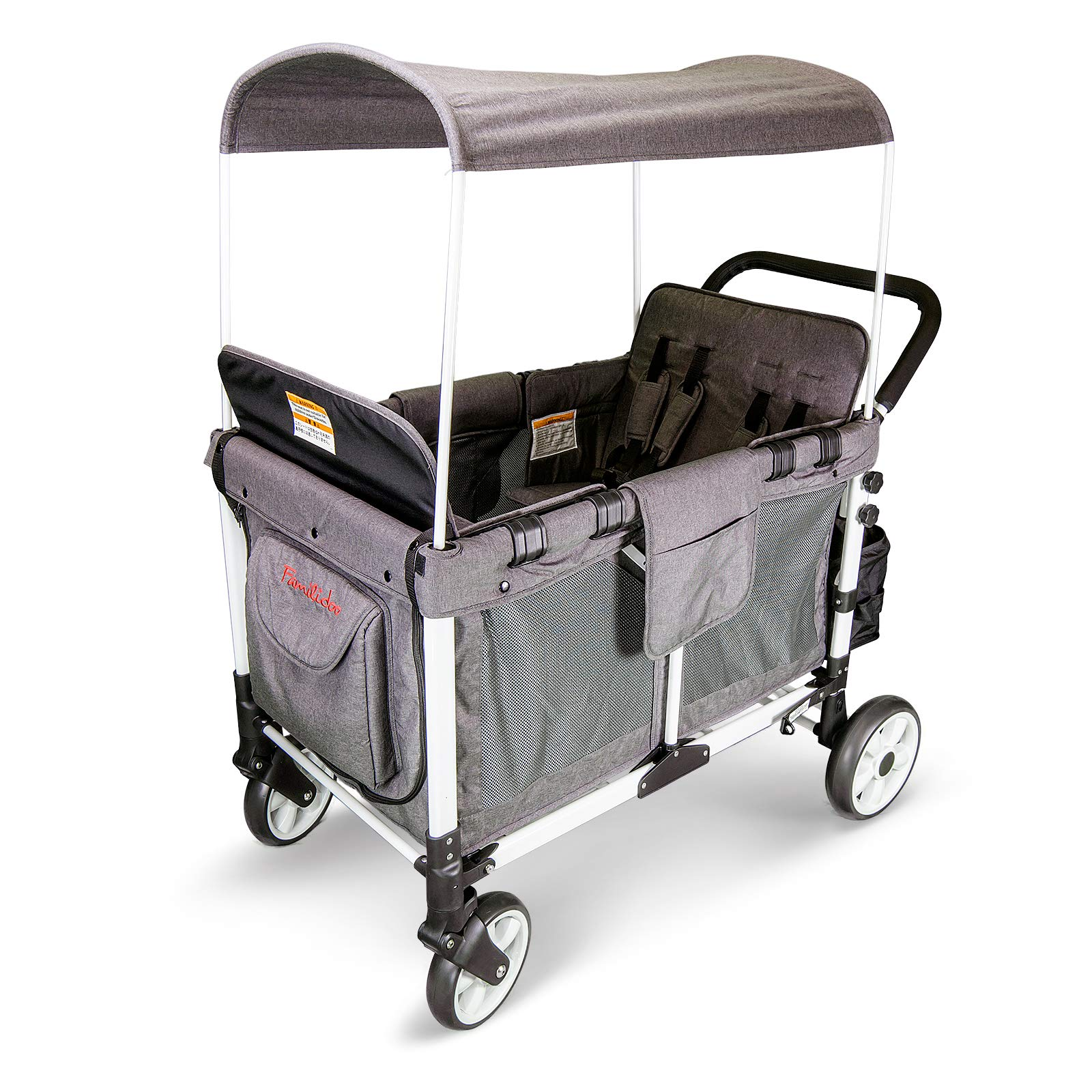 WonderFold Baby Multi-Function Four Passenger Wagon Folding Quad Stroller with Removable Reversible Canopy & Seats up to 4 Toddlers (Gray)