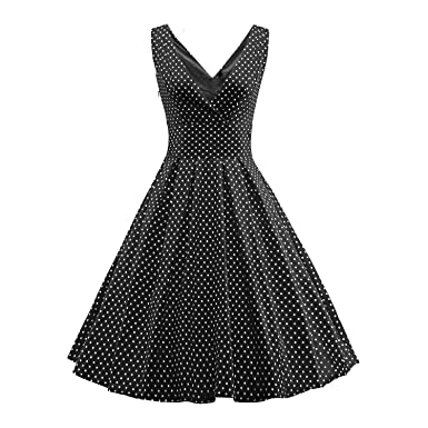 BFY Womens Summer Vintage Audrey Hepburn 50s 60s Polka Dot Sleeveless Dress Black S