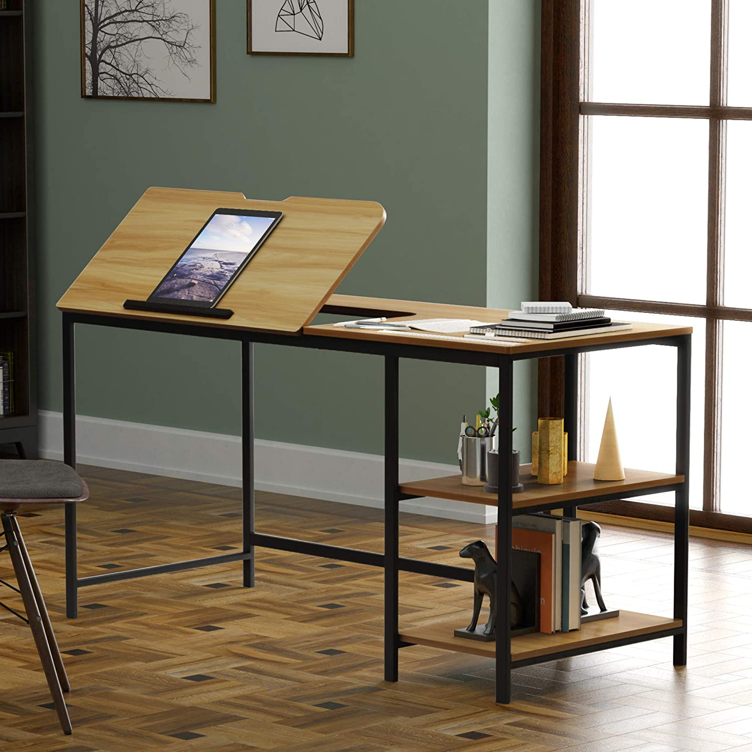 55 inch Multi-Function Drafting Table,Computer Desk,Phone,pad,Computer 12 Different Position Adjustable Stand Table Multi-Function Drawing Table with Adjustable Tiltable Stand Table Board