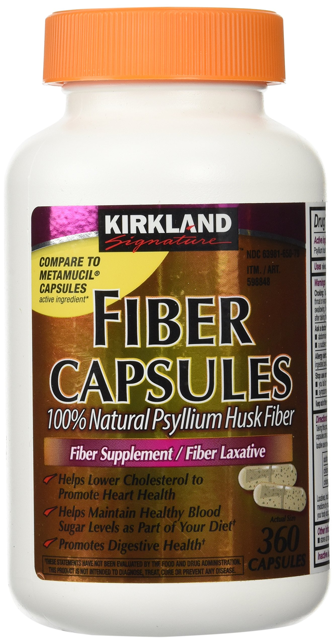 Fiber Capsules Kirkland Therapy for Regularity/Fiber Supplement, 360 capsules - Compare to the Active Ingredient in Metamucil Capsules by Kirkland Signature