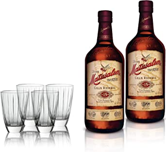 Ron Matusalem Añejo Gran Reserva 15 años - Estuche 2 Botellas 700 ml + 4 Vasos exclusivos
