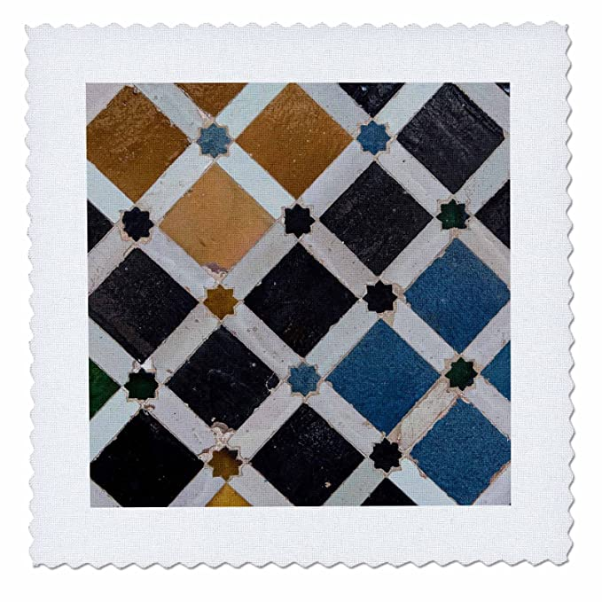 3D Rose Spain Alhambra Detail of Architecture in Nasrid Palace Square 12 by 12 Inch Quilt 12 x 12