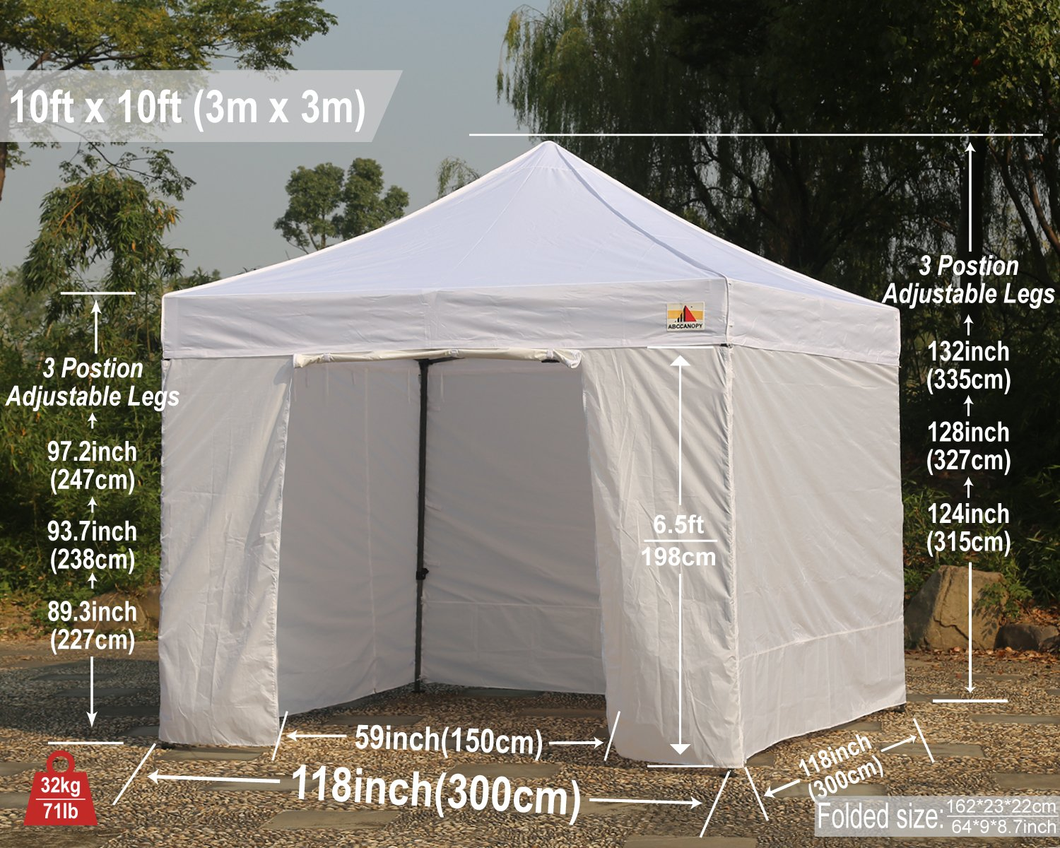 Abccanopy Deluxe 10x10 Instant Canopy Craft Display Tent Portable Booth Market Stall with Wheeled Carry Bag , Bonus 4x Weight Bag by ABCCANOPY (Image #8)