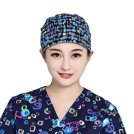 374ca93100d Amazon.com  VMANNER Scrub Hat Bouffant Scrub Cap Nurse Hat for ...