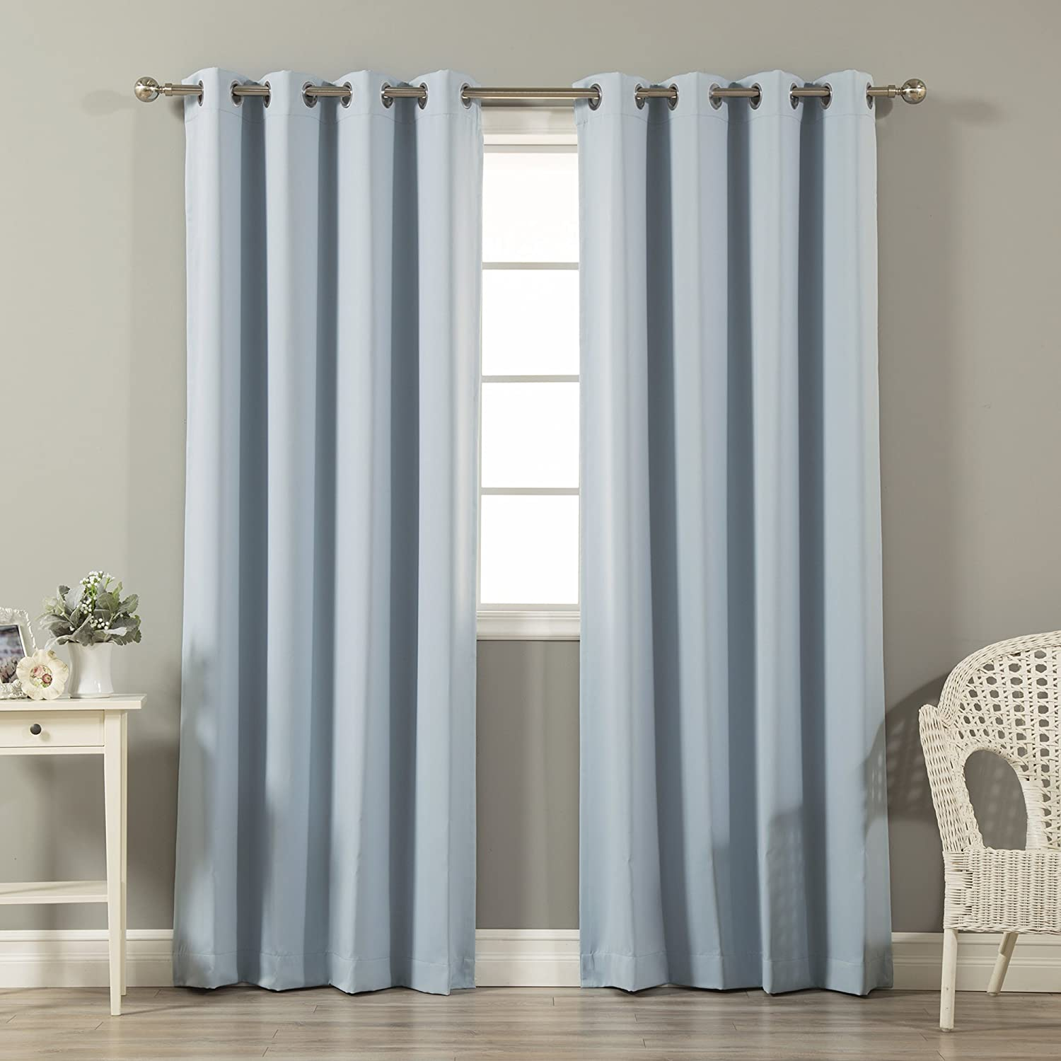 """Best Home Fashion Thermal Insulated Blackout Curtains - Stainless Steel Nickel Grommet Top - Sky. Blue - 52"""" W X 96"""" L - (Set of 2 Panels) …"""
